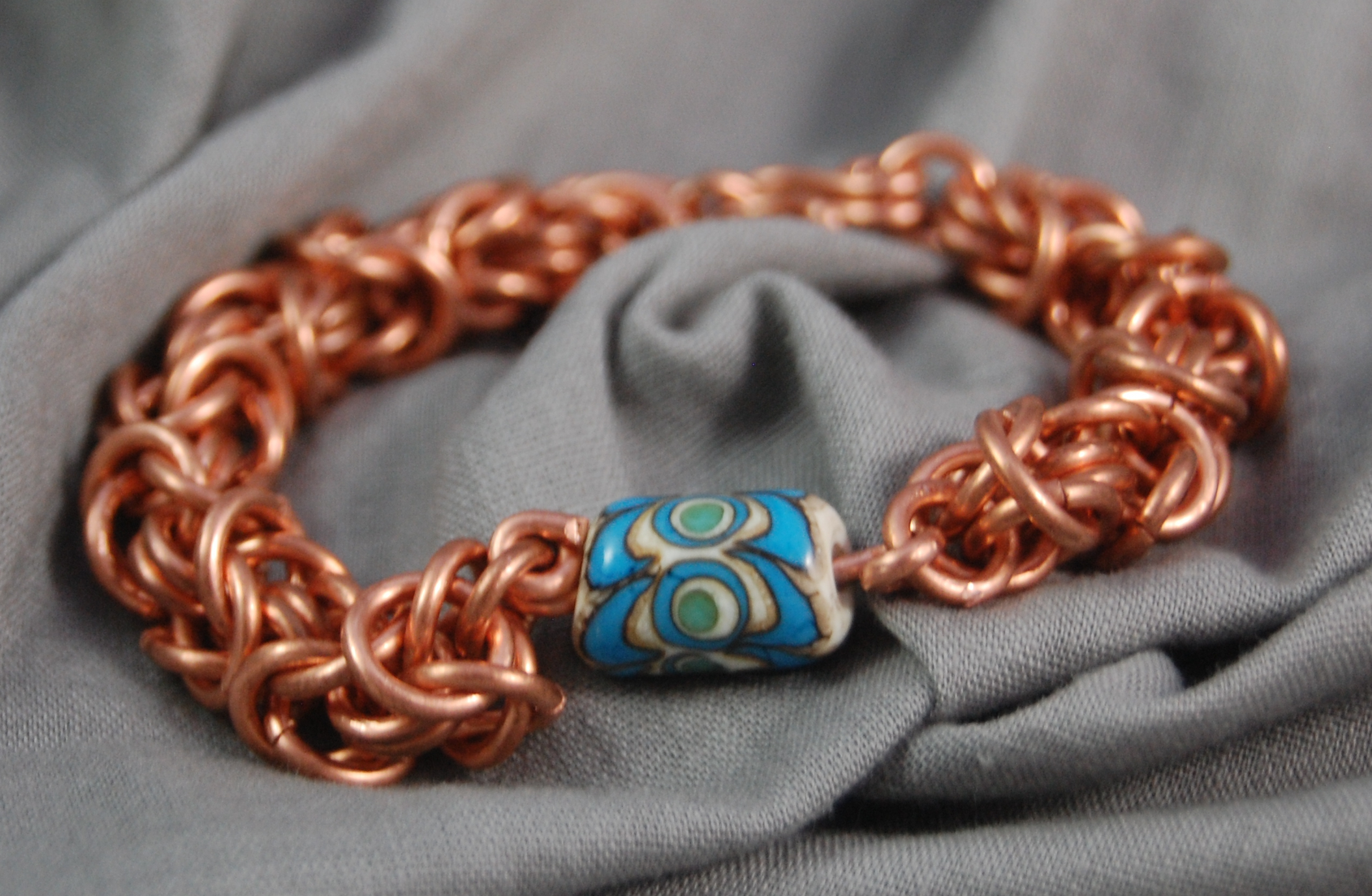 Copper Byzantine Chain Braceletwith handmade lampwork bead (beads vary)